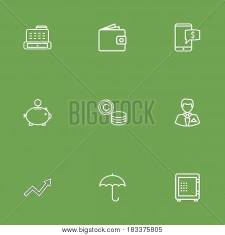 Set Of 9 Budget Outline Icons Set.Collection Of Cash Register, Protect, Electron Payment And Other Elements.