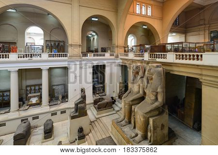 CAIRO, EGYPT - 08 JANUARY 2016: The wide-angle view of the interior of the Egyptian Museum in Cairo