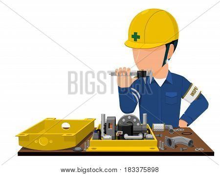 inspector is inspecting machine part on transparent background