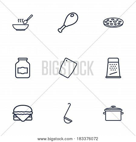 Set Of 9 Cooking Outline Icons Set.Collection Of Grater, Chopping Board, Jug And Other Elements.