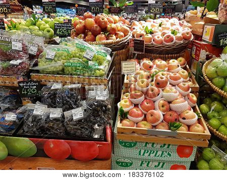 CHIANG RAI THAILAND - MARCH 1 : various fruits sold on shelf in supermarket at Central Plaza department store on March 1 2017 in Chiang rai Thailand