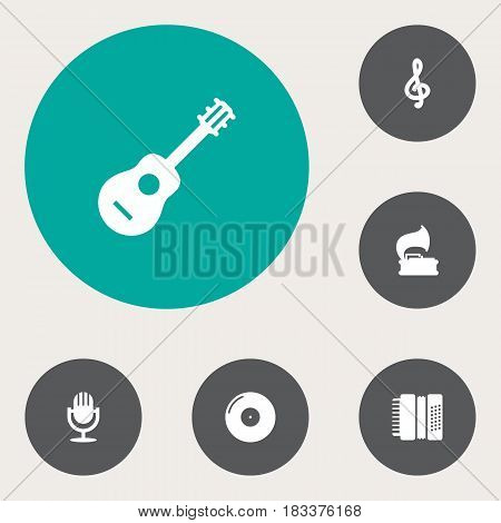 Set Of 6 Melody Icons Set.Collection Of Retro Disc, Harmonica, Karaoke And Other Elements.