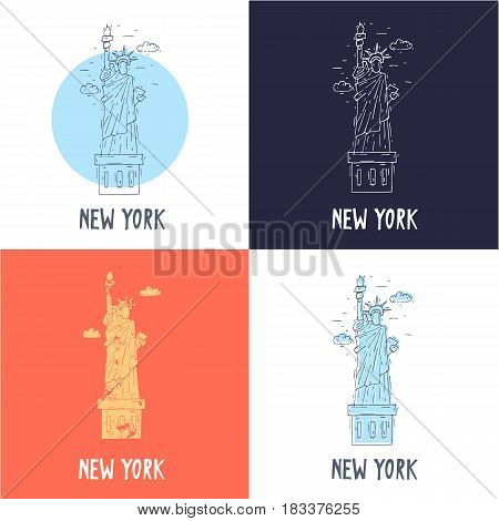 New York State of Liberty. Travel, doodle, line. Flat vector illustration.