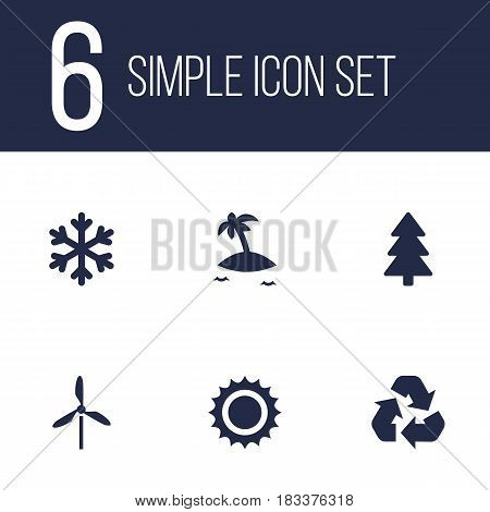 Set Of 6 Nature Icons Set.Collection Of Winter Snow, Isle Beach, Wind Energy And Other Elements.