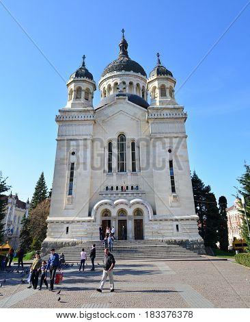 CLUJ NAPOCA ROMANIA - 04.01.2017: Archdiocesan Cathedral landmark architecture