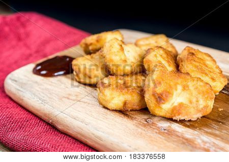 delicious fried Chicken nuggets with sauce