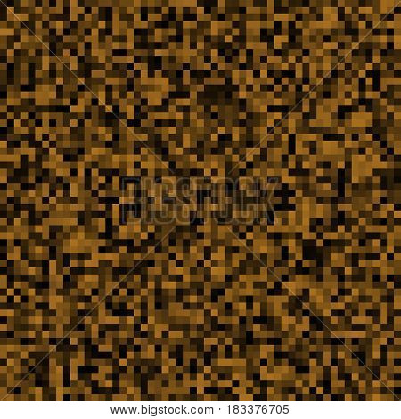 Abstract background of small pixels. Pixel texture for your projects. Dark brown earth color. Vector illustration. EPS 10