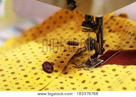 Woman's hobby Sewing machine thread metal object