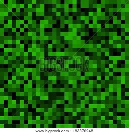 Abstract background of small pixels. Pixel texture for your projects. Dark green grass color. Vector illustration. EPS 10