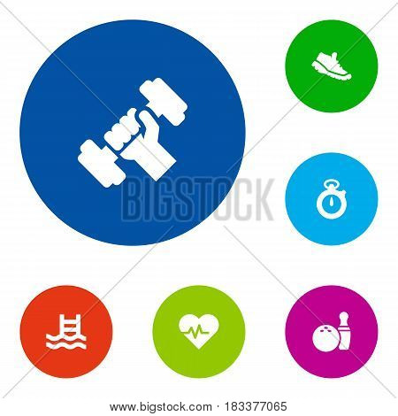 Set Of 6 Fitness Icons Set.Collection Of Basin, Bodybuilding, Kegling And Other Elements.
