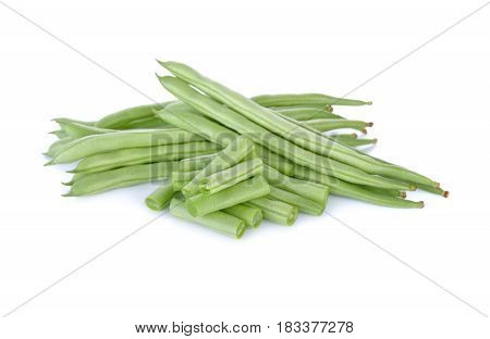 heap of French beans on white background