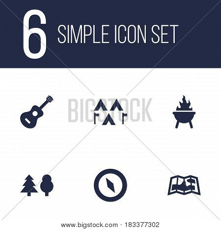 Set Of 6 Outdoor Icons Set.Collection Of Bbq, Camp, Map And Other Elements.