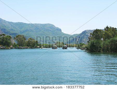dalyan river in mountains in turkey asia