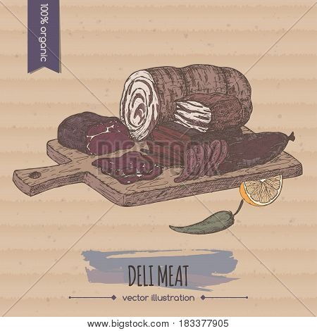 Color vintage deli meats platter template placed on cardboard background. Great for market, restaurant, grill cafe, food label design.