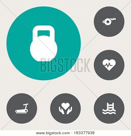 Set Of 6 Training Icons Set.Collection Of Hartbeat, Weights, Basin And Other Elements.