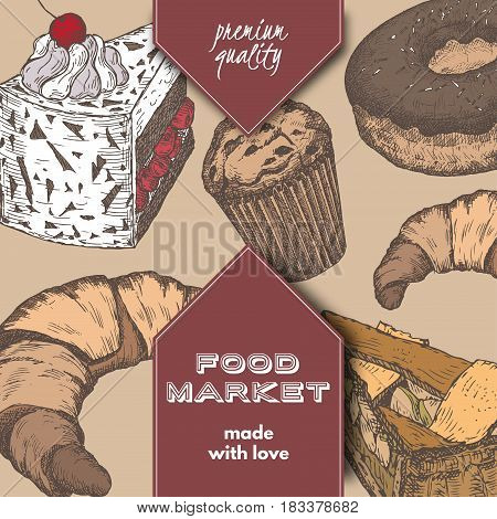 Colro food market label template with hand drawn sketch of apple pie, black forest cake, doughnut and croissant. Great for store and packaging design.