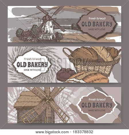 Set of three color original bakery label templates with windmills, wheat and bread. Great for bakery and bread shop ads, brochures, labels.