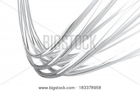 Fiber optic glass cables on white background