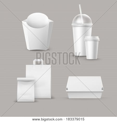 Vector Fast Food Package Set of Realistic Carton Hamburger Classic Burger Container Potatoes French Fries in White Box Blank Cardboard Cup for Drinks with Straw Paper Take Away Handle Lunch Bag.