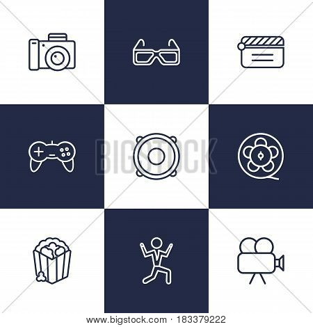 Set Of 9 Entertainment Outline Icons Set.Collection Of Photo Camera, Game Controller, Film Role And Other Elements.