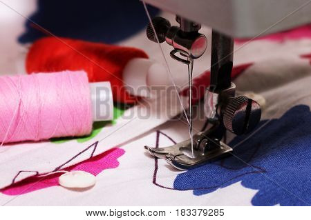 Woman's hobby Sewing machine thread style cloth