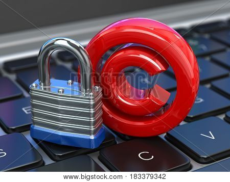 Copyright sign with lock on the laptop keyboard. Intellectual property protection concept. 3d illustration