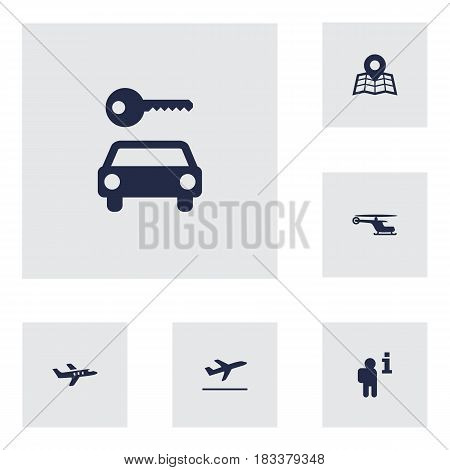 Set Of 6 Airplane Icons Set.Collection Of Automobile, Leaving, Aircraft And Other Elements.
