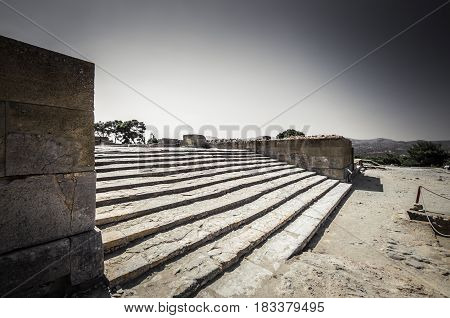 Phaistos site, Crete island, Greece. Ancient ruins of Greek Minoan Palace of Festos in the island of Crete