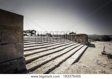 Phaistos site, Crete island, Greece. Ancient ruins of Greek Minoan Palace of Festos in the island of Crete