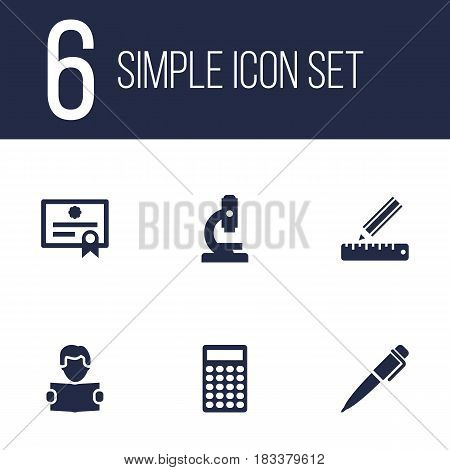 Set Of 6 Education Icons Set.Collection Of Calculate, Microbiology, Reading And Other Elements.