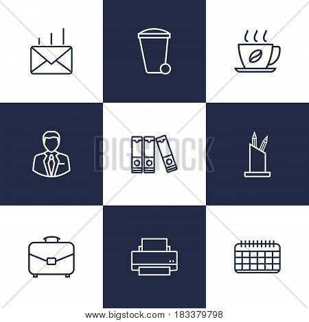 Set Of 9 Bureau Outline Icons Set.Collection Of Recycle Bin, Pen Storage, Document Case And Other Elements.