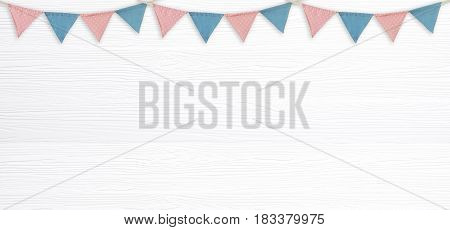 Colorful party flags hanging on blank white wood background with copy space for text new year and festival card banner