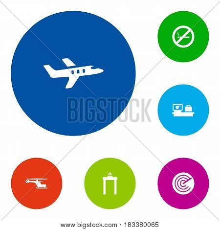 Set Of 6 Land Icons Set.Collection Of Metal Detector, Radiolocator, Aircraft And Other Elements.