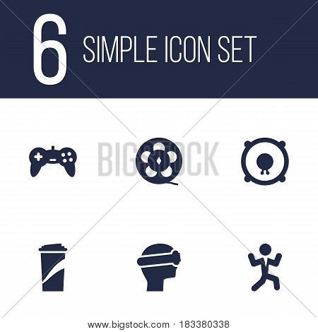 Set Of 6 Amusement Icons Set.Collection Of Filmstrip, Disco, Cyberspace And Other Elements.