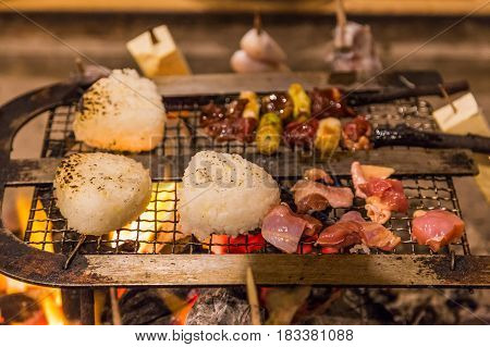 Traditional Japanese Style Charcoal  Grilled Rice Ball And Yakitori