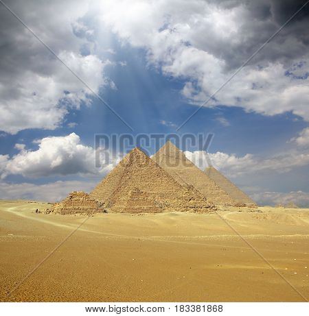 Great pyramids at Giza Cairo in Egypt