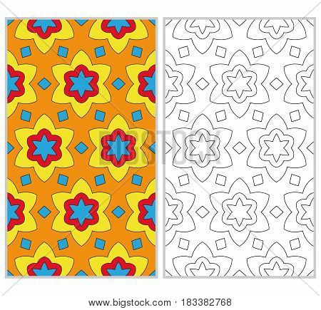 Set Of 2 Seamless Patterns. The Left Element Is A Colored Pattern In The Style Of A Kaleidoscope Mos