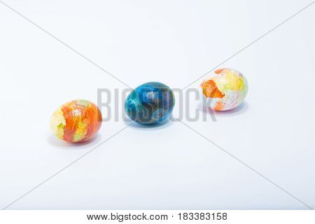 Three Easter Eggs Aligned Hand Painted In Home - Abstract Different Colors, Isolated In White Backgr