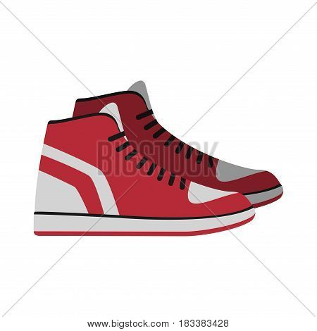Red Sneakers, sport gym shoes isolated on white background. footwear for sport and casual look vector illustration.