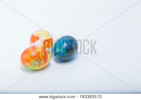 Three Easter Eggs Hand Painted In Home - Abstract Different Colors, Isolated In White Background