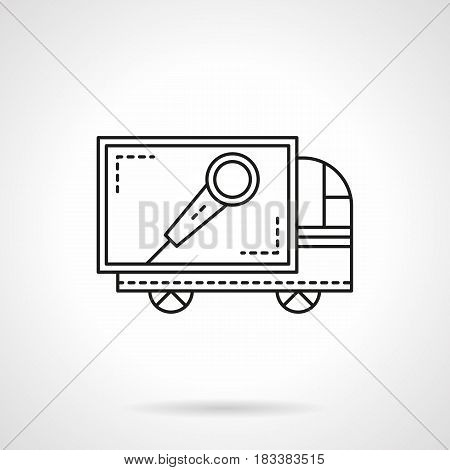 Truck with microphone symbol. Services of sound equipment delivery for concerts, festivals, party. Flat black line vector icon.