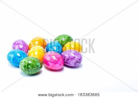 Ten Easter Eggs Hand Painted In Home - Abstract Different Colors, Isolated In White Background