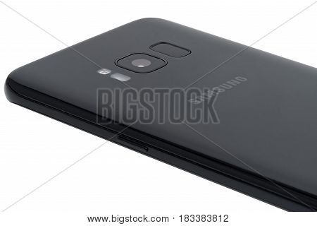 Koszalin, Poland - 25 April, 2017:The new photo of black Samsung Galaxy S8. Samsung S8 are new generation smartphone from Samsung. The Samsung S8 is smart phone with multi touch screen