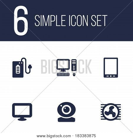 Set Of 6 Computer Icons Set.Collection Of Computer, Supply, Palmtop And Other Elements.