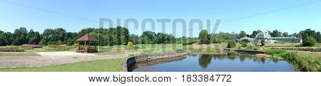 Beautiful summer landscape in Kaunas botanical garden Lithuania