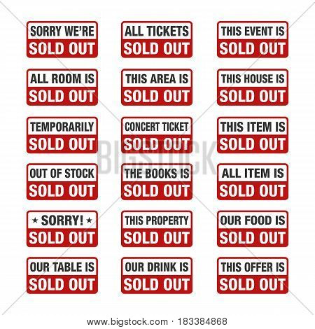 Sold Out sign set label, vector illustration