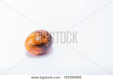 Easter Egg Hand Painted In Home - Abstract Different Orange, Black Colors, Isolated In White Backgro