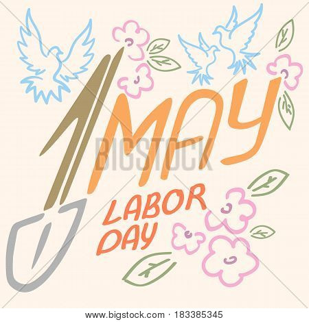 May 1 Labor Day logo symbol of pigeon, spring flowers spade holiday weekend.
