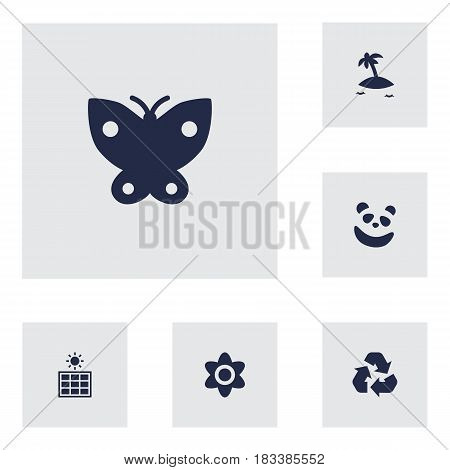 Set Of 6 Nature Icons Set.Collection Of Solar Panel, Bloom, Isle Beach And Other Elements.