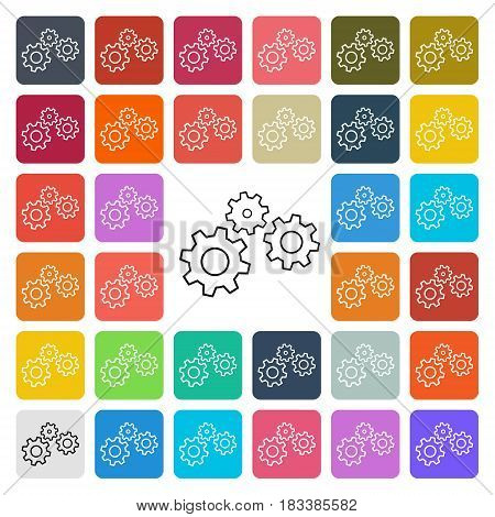 Vector modern gear setting icon set in button.